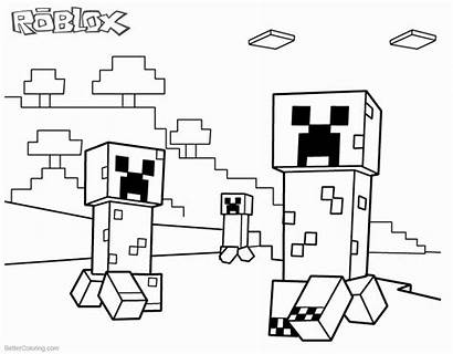 Minecraft Coloring Roblox Creeper Creepers Printable Draw