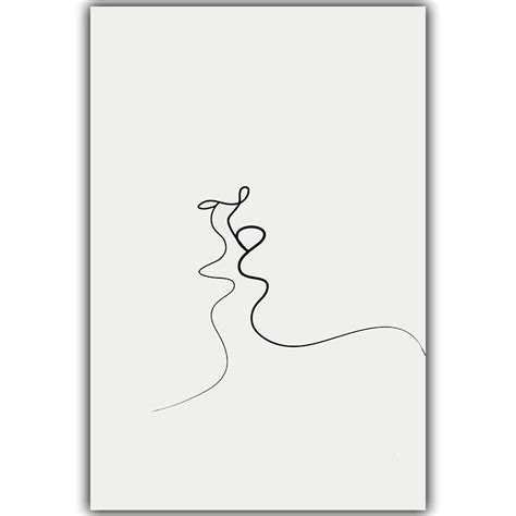 Abstract Simple Abstract Black Canvas Painting by Picasso Simple Line Curve Black White Abstract Painting