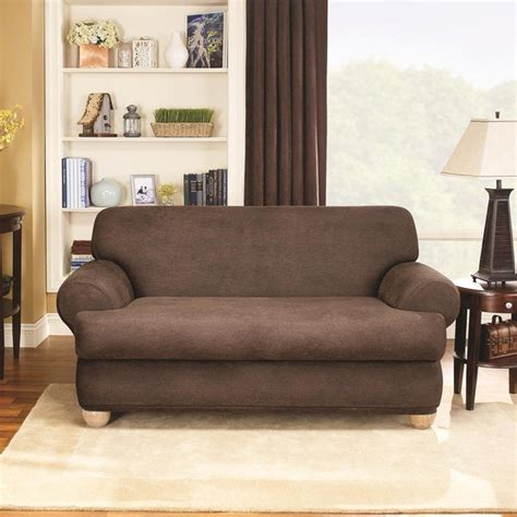 Slipcovers For Couches With Cushions by Shop Sure Fit Stretch Faux Leather 2 T Cushion Sofa