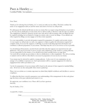 engagement letter template  accountants forms