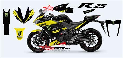 special modif striping decal fullbody yamaha r25 livery tech3 motogp motoblast