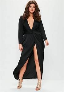 plus size black satin thigh split wrap maxi dress With robe longue cache coeur