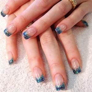 Déco French Manucure : deco ongles french manucure gel paillette couleur bleu base transparente french manucure gel ~ Farleysfitness.com Idées de Décoration