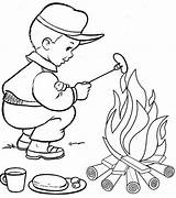 Campfire Coloring Fun Pages Students sketch template