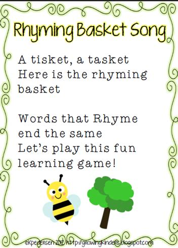 quot rhyming basket quot song lakeshore learning vowel teaching