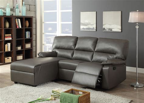 grey leather chaise sofa artha gray bonded leather motion sectional sofa chaise