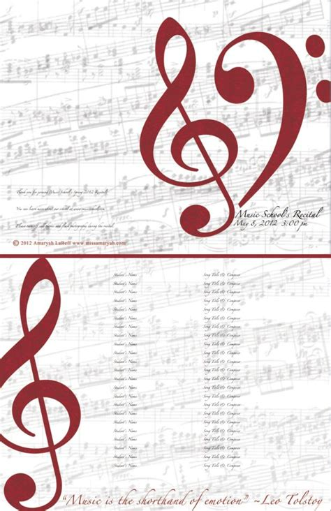 Musical Program Template by Free Editable Recital Program Templates