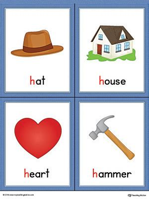 a color that starts with h letter h words and pictures printable cards hat house