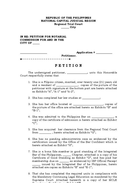 petition  notarial commission template notary public