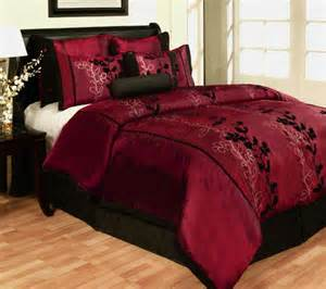 7 piece queen size satin comforter set emboss floral burgundy black bed in a bag ebay