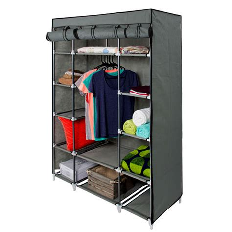 Wardrobe Closet With Shelves by 53 Quot Gray Portable Closet Storage Organizer Clothes