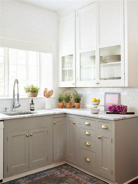 white lower kitchen cabinets glass front cabinets and gray lower cabinets with