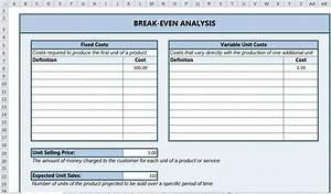 Inventory Chart Template Break Even Analysis Excel Break Even Analysis Template