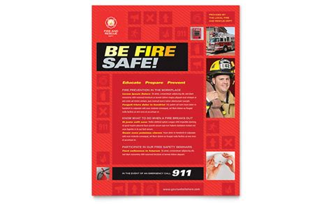 fire safety flyer template design