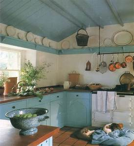Cottage Light Blue and White Kitchen Interiors By Color