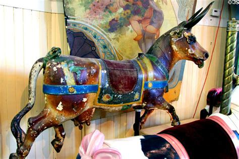 Carousel cow with brass horns in original paint by Gustav ...