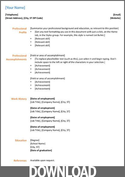 microsoft office docx resume  cv