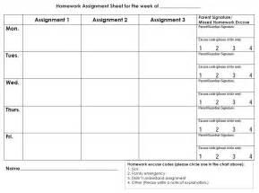 Printable Weekly Homework Assignment Sheet