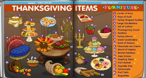 thanksgiving items list fantage gems november 2009