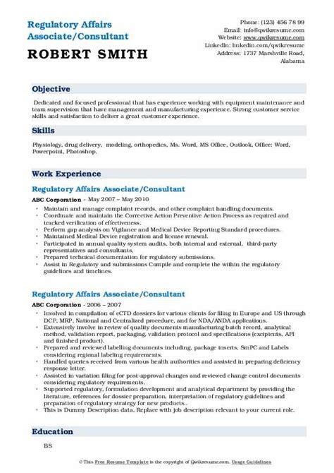 regulatory affairs associate resume samples qwikresume