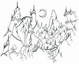 Coloring Pages Wardrobe Printable Witch Lion Adult Adults Mountains Village Mountain Cute Monkey Landscape Nature Books Landscapes Printables Fantasy Bluebison sketch template