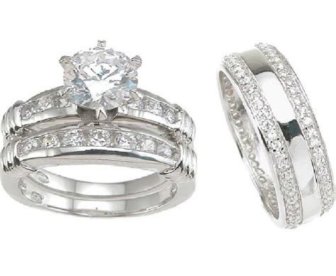 His And Her Hers Matching Wedding Set Ring Bands 3 Pcs