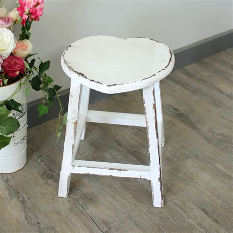 shabby chic wood paint white painted wooden heart stool shabby french chic country kitchen home ebay