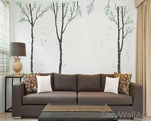Birch tree wall decal white birch wall decal with leaves for for White birch tree wall decal decorations