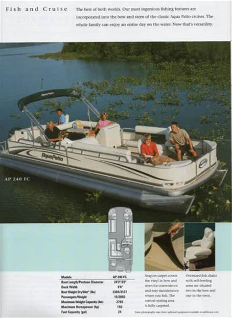 aqua patio 2006 pontoon brochure sailinfo i boatbrochure