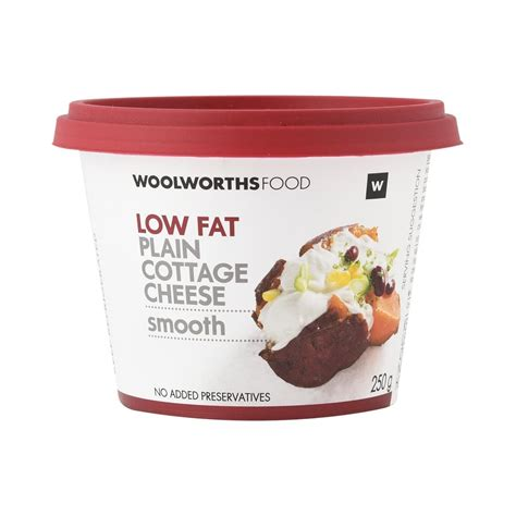 Low Fat Plain Smooth Cottage Cheese 250g Woolworthscoza