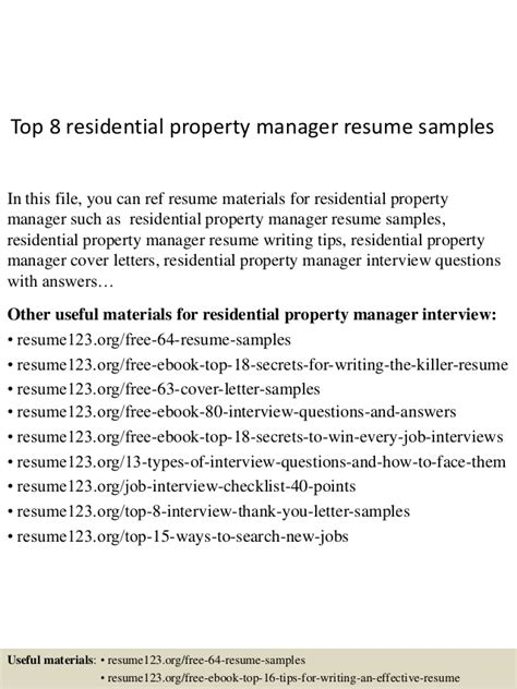 Sle Residential Property Manager Resume by Top 8 Residential Property Manager Resume Sles