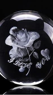 3D Rose Crystal Ball Miniature Flower 60mm Globe Laser ...