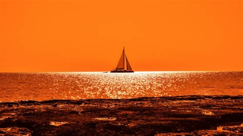 sunset boat sail  wallpapers hd wallpapers id