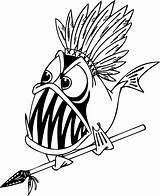 Coloring Piranha Fish Fisch Spear Ausmalbilder Clipart Detailed Zum Sheet Colorir Gambar Ikan Clip Kartun Konabeun Nativa Library Desenhos Ausdrucken sketch template