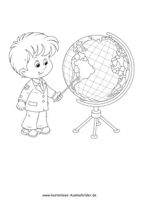 ausmalbilder malvorlagen schulkind mit globus