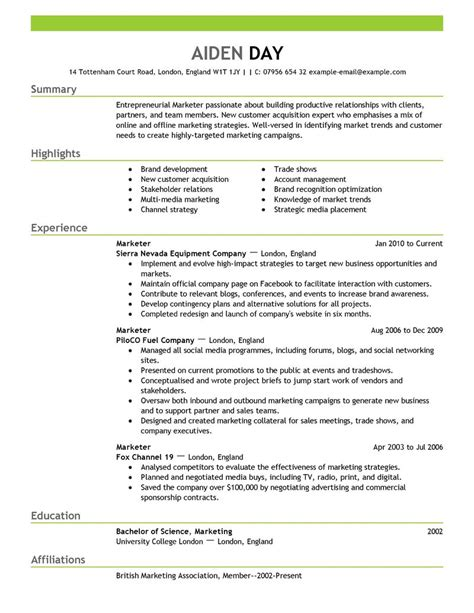 resumes for a marketing sle marketing resume exles