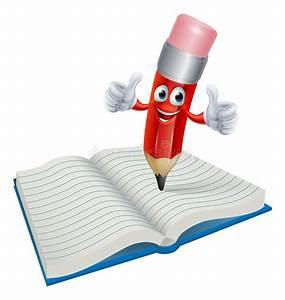 Cartoon Pencil Man Writing In Book Stock Vector ...