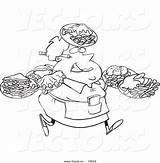Fat Waitress Outline Cartoon Coloring Carrying Vector Plates Many Female Leishman Ron Royalty License sketch template