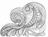 Coloring Pages Waves Ocean Adult Wave Printable Tsunami Colouring Drawing Grown Adults Lostbumblebee Sheets Flowers Printables April Detailed Getcolorings Peace sketch template