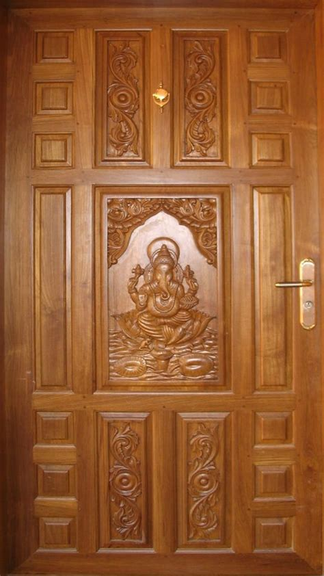 teak wood door sri ganesh carving goel woodworks wooden door design wooden main door design