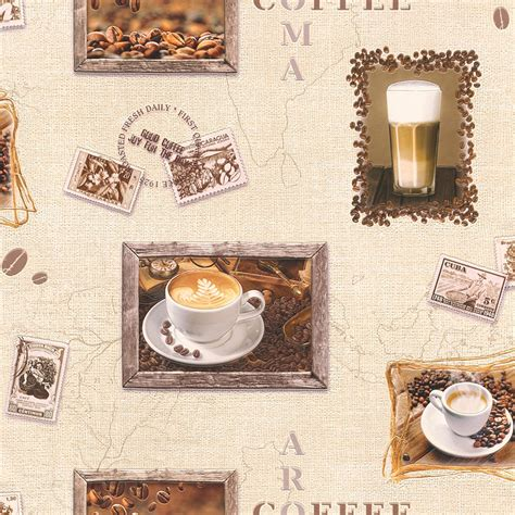 rasch coffee motif cappuccino mocha photo embossed vinyl