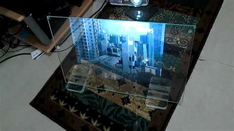 large tv stand transperent glass screen no projection foil