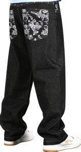 Southpole Skull and Flowers jeans raw black