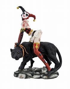 Red/Black Harlequin Jester and Black Panther Statue eBay