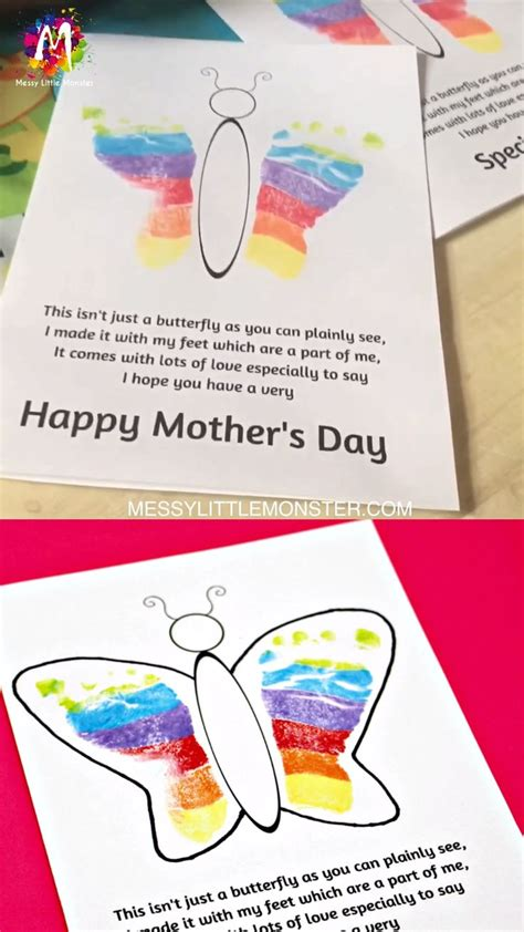 footprint butterfly poem printable mothers day card