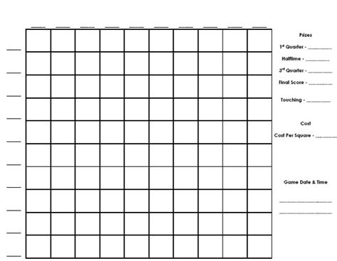 free printable football squares template 8 best images of printable football pool sheets printable football pool master sheets