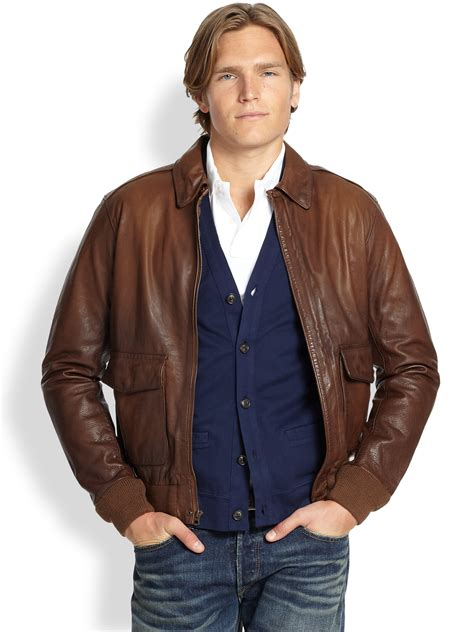 polos jacket lyst polo ralph farrington bomber jacket in brown for