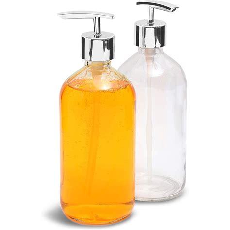 pack clear ozml glass hand soap dispenser bottle
