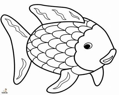 Fish Coloring Rainbow Printable Template Cartoon Sad