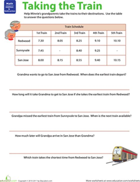 Planes And Trains Practicing Schedules #2  Worksheet Educationcom